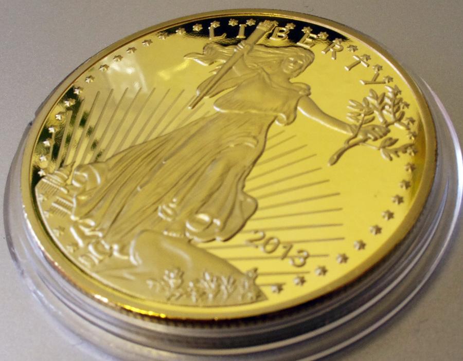 アメリカ 50ドル金貨 24金メッキレプリカ コイン 2013年 リバティ 1oz 1オンス 金貨_画像3