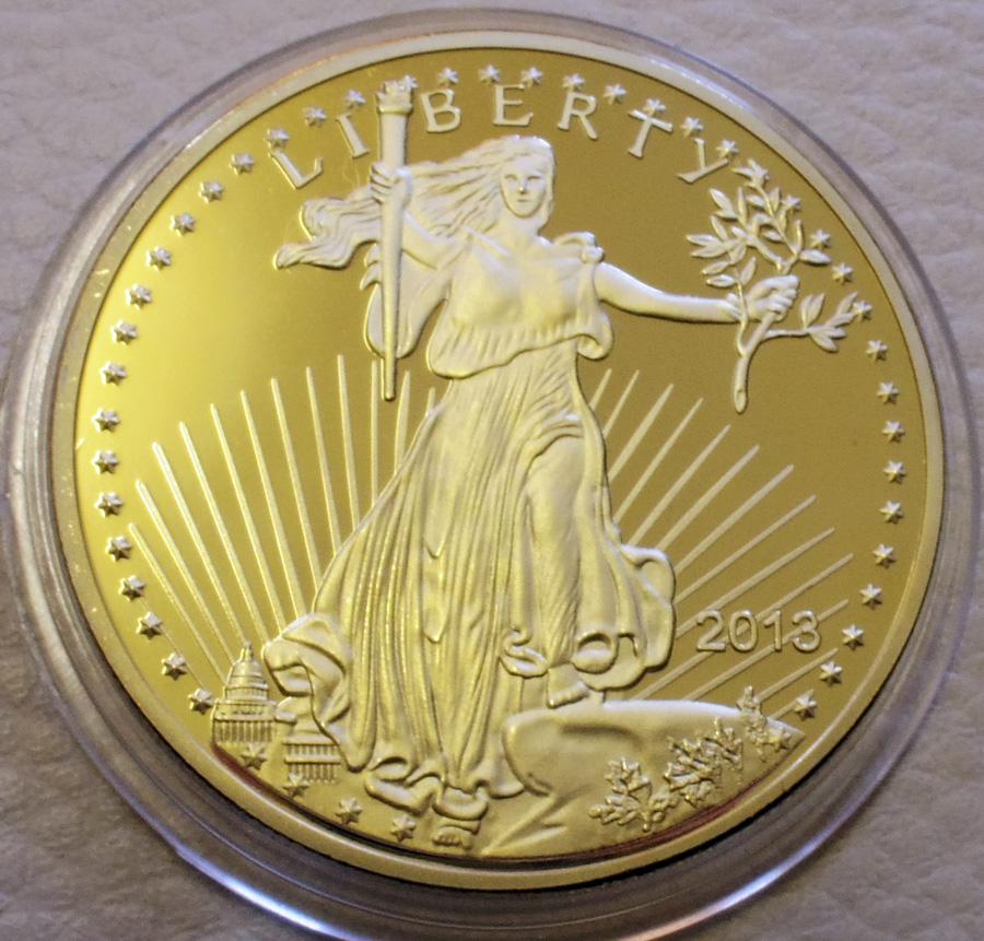 アメリカ 50ドル金貨 24金メッキレプリカ コイン 2013年 リバティ 1oz 1オンス 金貨_画像1