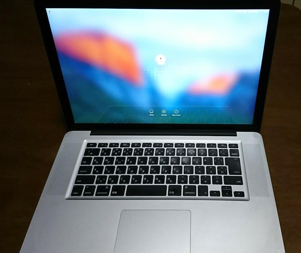 完動品!送料無料!Macbook Pro 15-inch,Early 2011モデル MC721J/A Core i7 2.0GHz メモ
