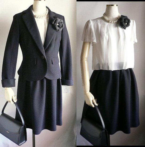 新品9号11号13号濃紺テーラードペプラムツイードスーツ+白上ワンピーススーツ3点セット卒業式入学式フォーマルセレモニー
