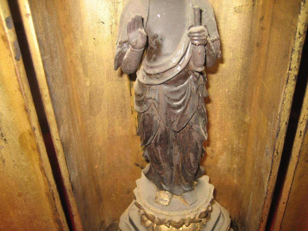 (鳥羽)うぶだし骨董仏教美術室町~江戸期薬師如来立像(逗子入り)_画像9
