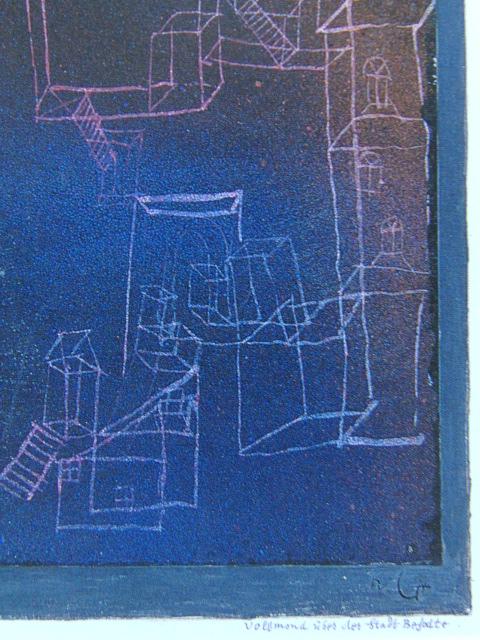 パウル・クレー「満月のべショットの街」、希少画集画、新品高級額装付、状態良好、送料込み_画像2