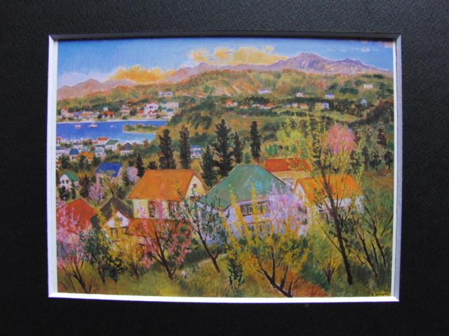 垣内 カツアキ【海の見える丘の春】、希少画集画、新品高級額、額装付、状態良好、送料込み_画像3