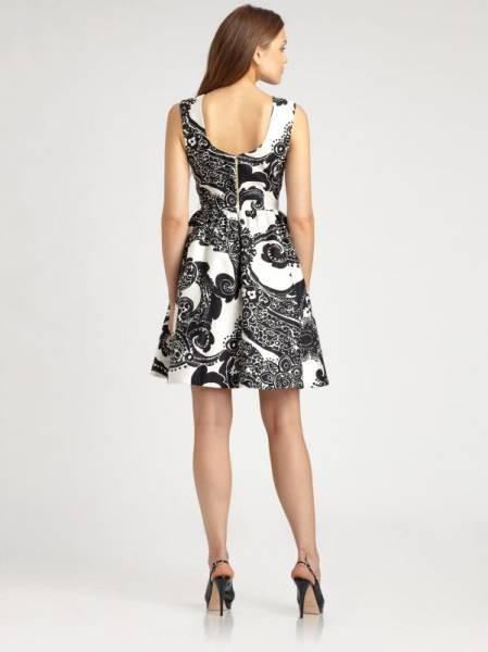 新品ケイトスペードニューヨーク Kate spade Newyork シルクコットンAlanis ワンピース US0/JP7号~9号  白黒