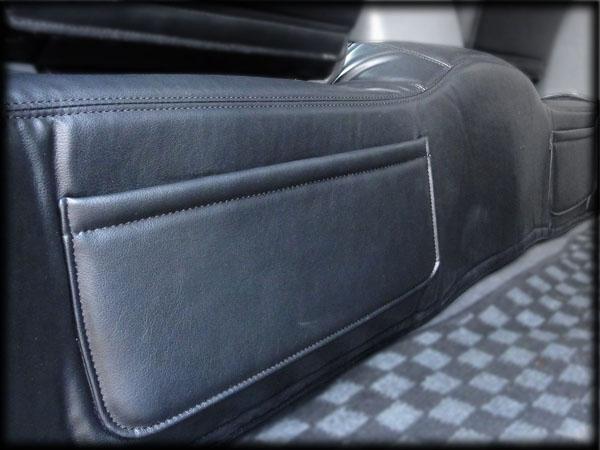 200 ハイエース 標準 4型 セカンドフロアレザーカバー 小物 雑誌収納 ポケット付き PVCレザー リアデッキカバー マジックテープ取り付け_画像2