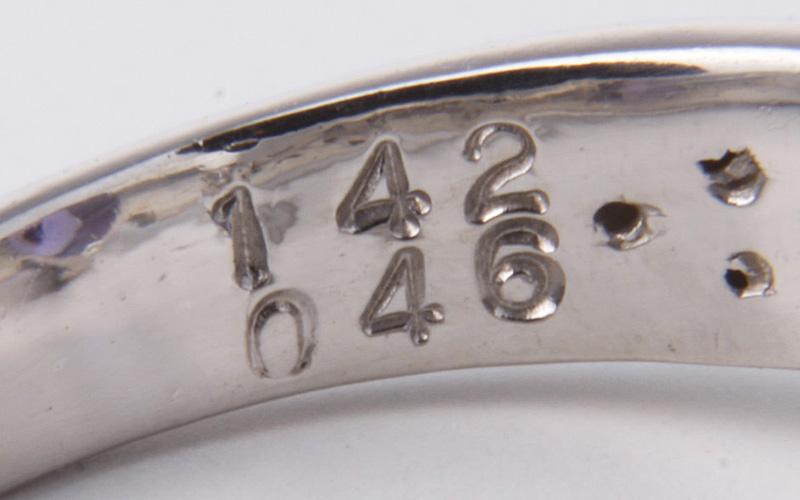 磨済 Pt900 タンザナイト1.42ct/ダイヤリング 14号/ke8744_画像6