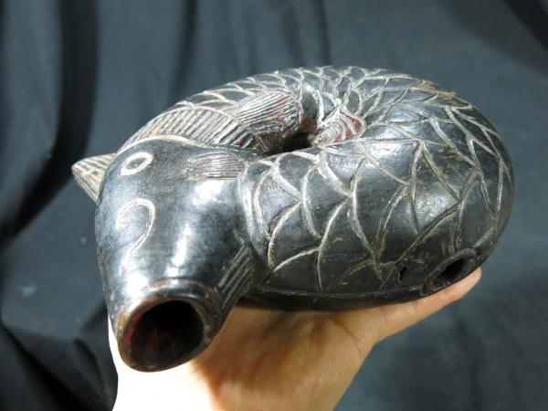 A 変わり木魚 中国 貴州省産 清時代 古玩 珍品 名品 木彫 仏教 寺院 _画像8
