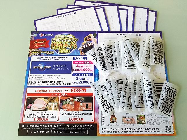 伊藤ハム★USJ貸切ナイト★応募用 バーコード 24枚&ハガキ8枚★