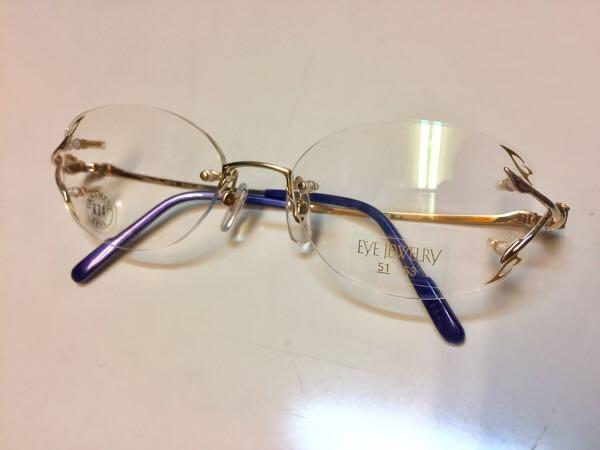 EYE JEWERLY 眼鏡 HOYA 日本製 K24GP 伊達メガネ ゴールドカラー 金属フレーム ふち無し ツーポイント めがね【2763】_画像1