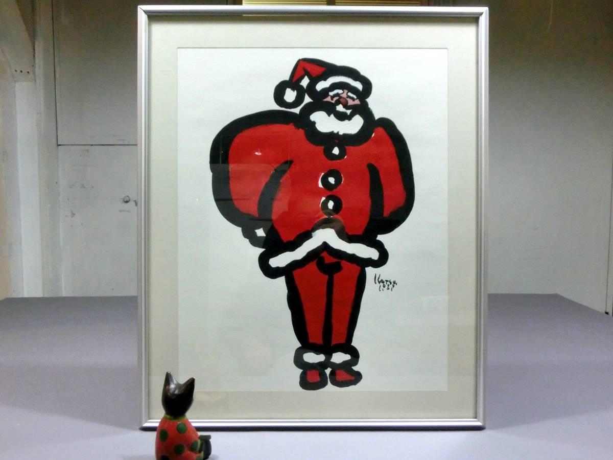 吉田カツ ◆直筆肉筆 油彩画作品 「サンタクロース」 クリスマス◆『PARCO』ポスター フ