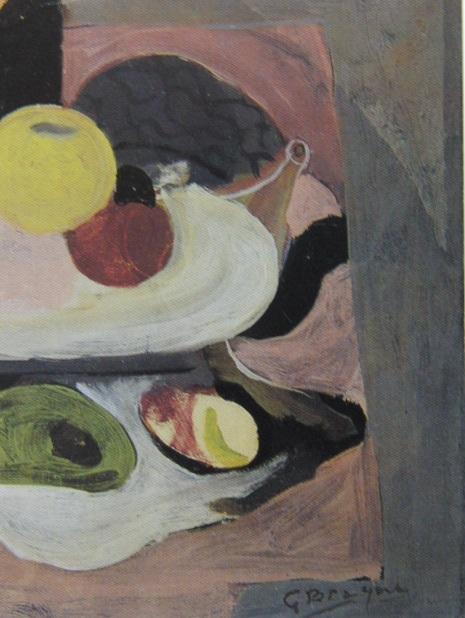 ジョルジュ・ブラック、【果物入れと果物】、希少画集画より、状態良好、新品高級額装付、送料無料、油絵 油彩 静物画_画像2