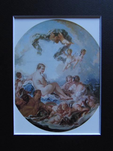 フランソワ ブーシェ、【ヴィーナスの誕生と勝利】、希少画集より、状態良好、新品高級額装付、絵画 送料無料_画像3