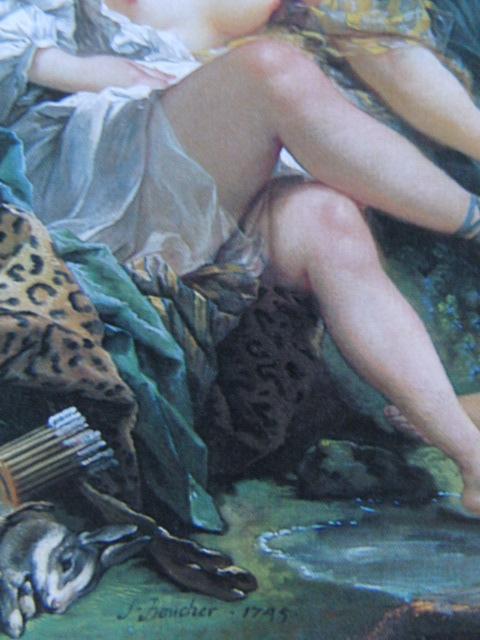 フランソワ ブーシェ、【狩りから帰るダイアナ】、希少画集より、状態良好、新品高級額装付、絵画 送料無料_画像2