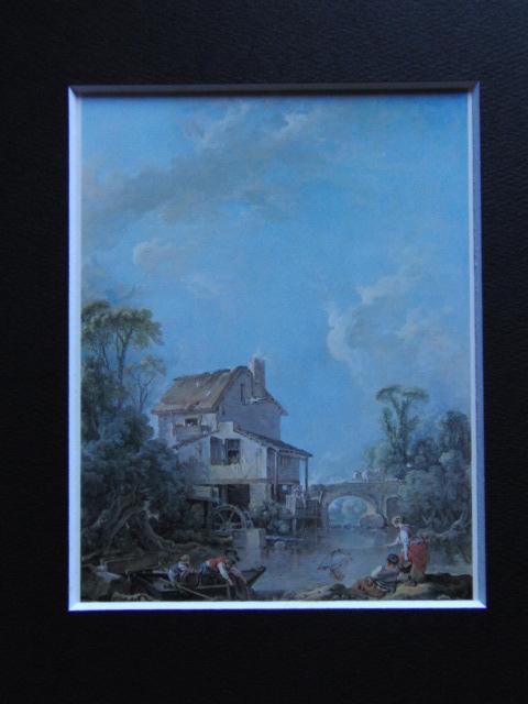 フランソワ ブーシェ、【幸福な釣人】、希少画集より、状態良好、新品高級額装付、絵画 送料無料_画像3