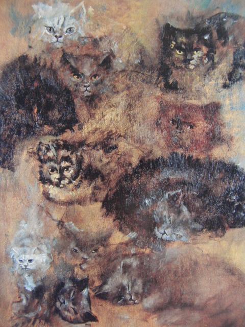 Leonor Fini Cats, aus dem seltenen Kunstbuch, in gutem Zustand, neu luxuriös gerahmt, versandkostenfrei, Gemälde Malerei & Ölgemälde & Tiermalerei