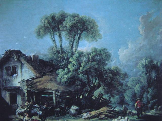フランソワ ブーシェ、【ボーヴェあたりの風景】、希少画集より、状態良好、新品高級額装付、絵画 送料無料_画像1