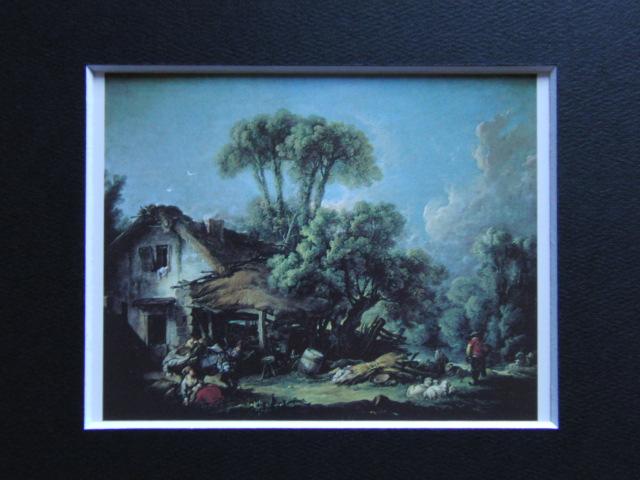 フランソワ ブーシェ、【ボーヴェあたりの風景】、希少画集より、状態良好、新品高級額装付、絵画 送料無料_画像3