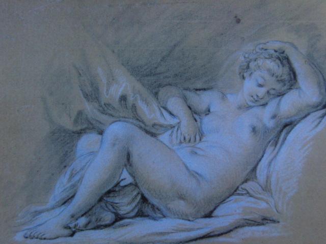 フランソワ ブーシェ、【ベッドに横たわる裸婦】、希少画集より、状態良好、新品高級額装付、絵画 送料無料_画像1