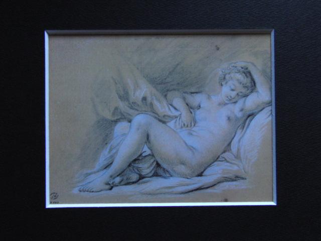フランソワ ブーシェ、【ベッドに横たわる裸婦】、希少画集より、状態良好、新品高級額装付、絵画 送料無料_画像3