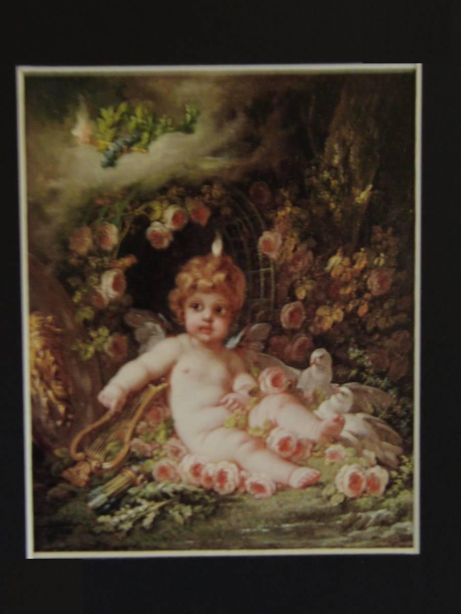 フランソワ ブーシェ、【若さの才能】、希少画集画、状態良好、新品高級額装付、送料無料、油絵 油彩 人物画 風景画 ロココ パリ_画像3
