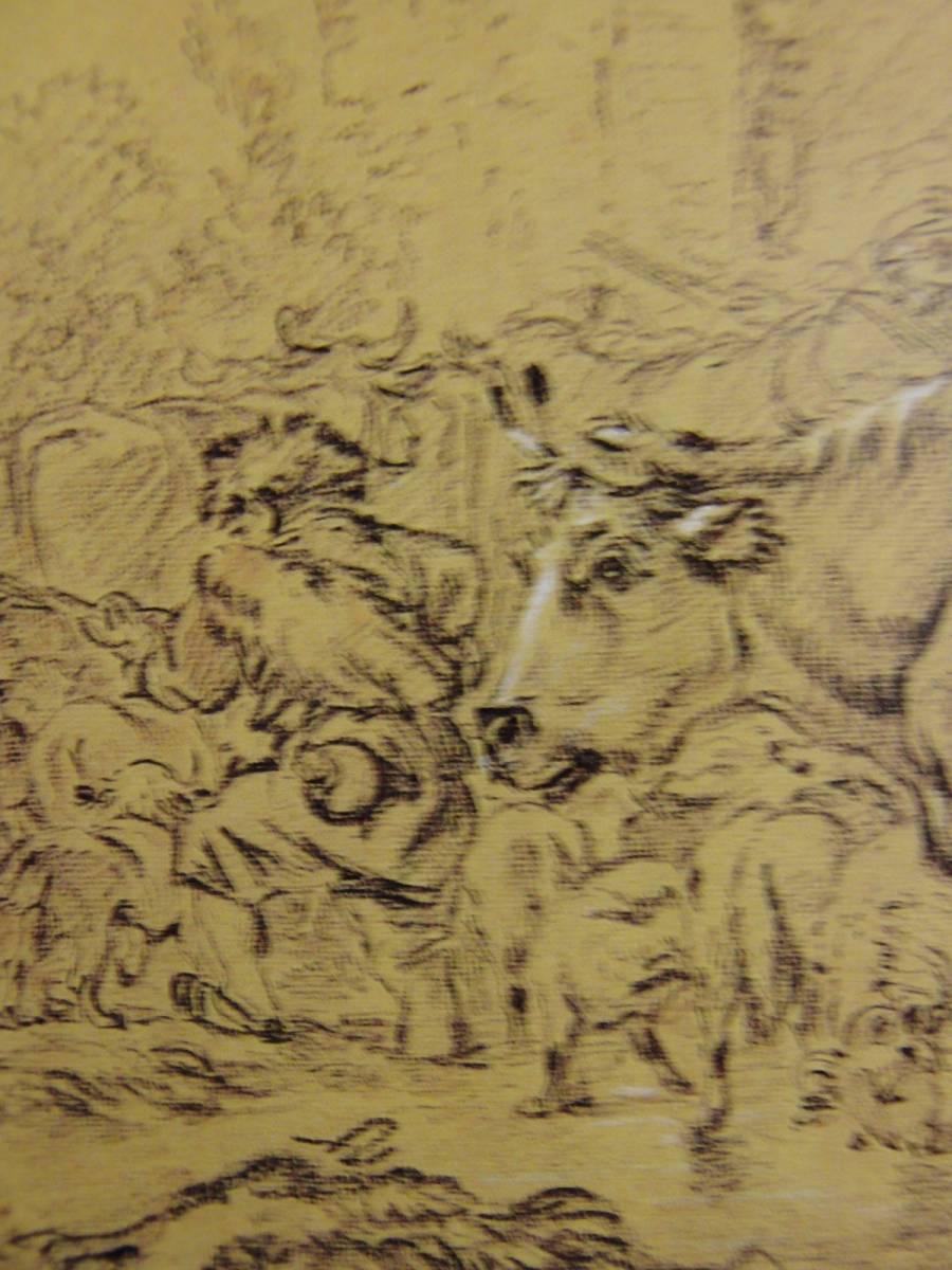 フランソワ ブーシェ、【羊小屋への帰り道】、希少画集画、状態良好、新品高級額装付、送料無料、鉛筆画 動物画 風景画 ロココ パリ_画像2
