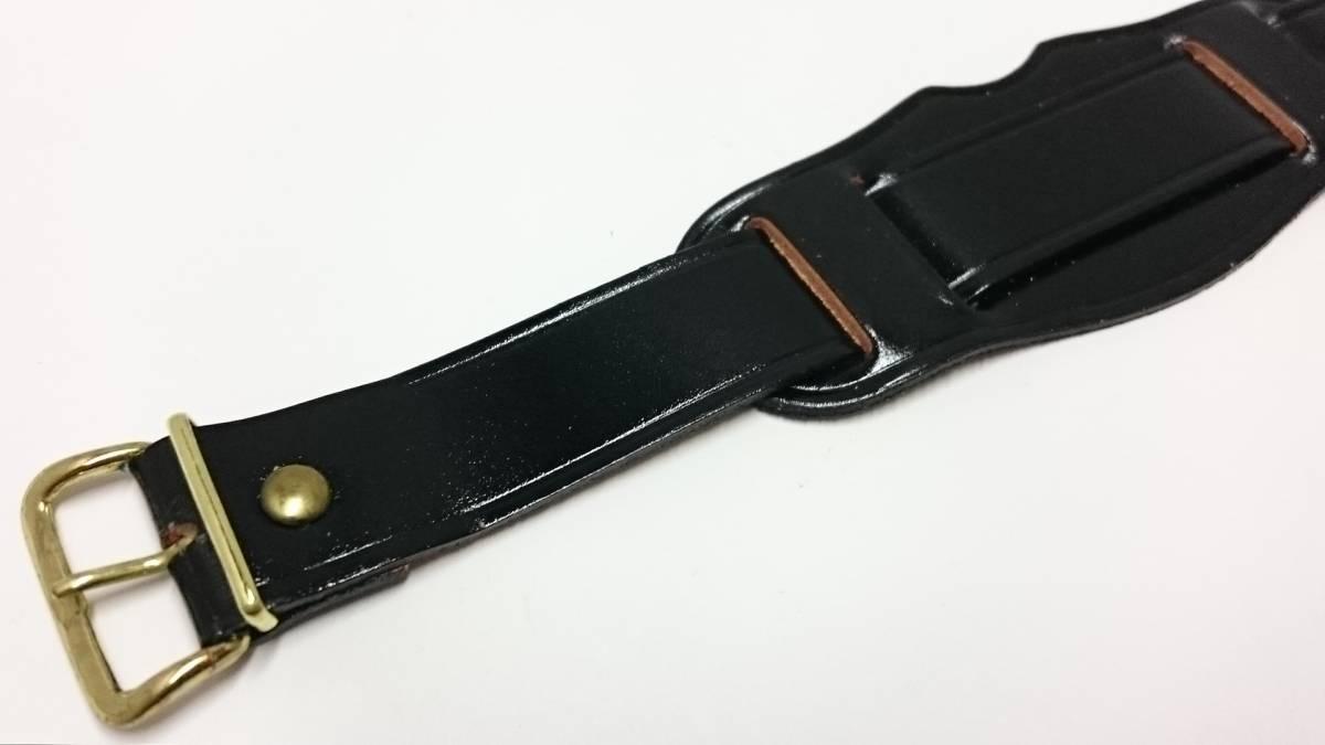 [18mm] ビンテージ コードバン アテ革 ミリタリー レザーベルト 黒 金色尾錠_画像1