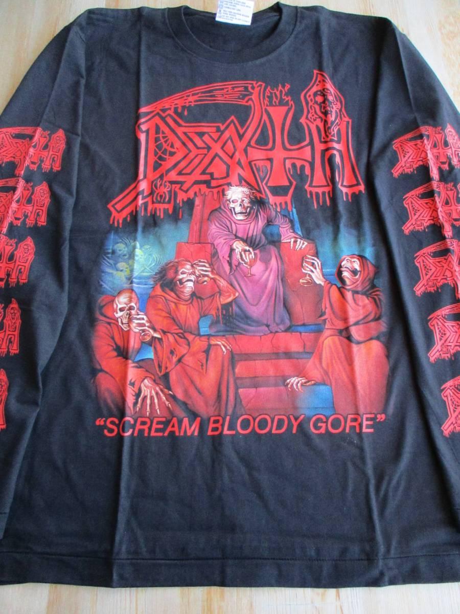 DEATH 長袖 Tシャツ Scream Bloody Gore 黒L ロンT デス / slayer sodom possessed venom bathory morbid angel master
