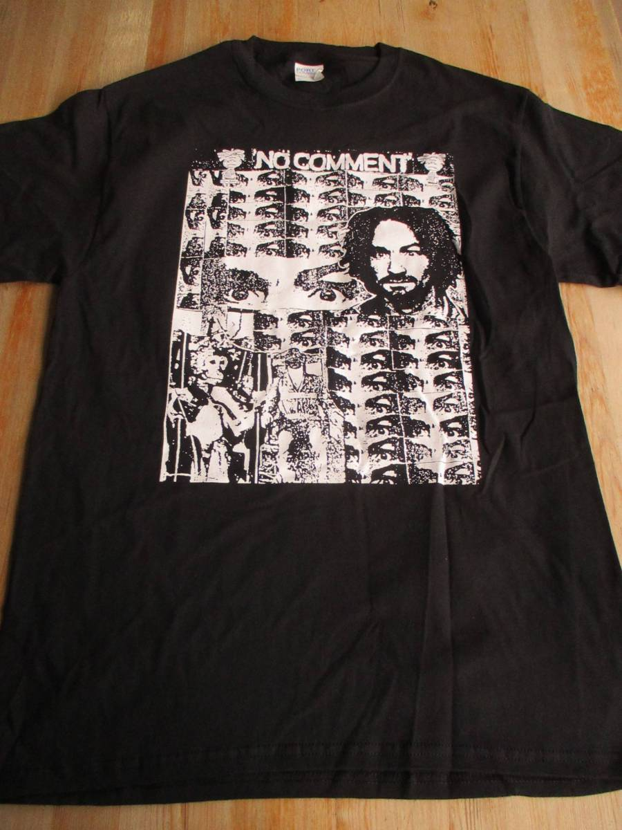 NO COMMENT Tシャツ charles manson 黒M オフィシャル / crossed out infest spazz citizens arrest los crudos mk ultra born against