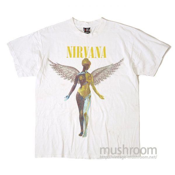 オフィシャル&Giantボディ!1990'S NIRVANA IN UTERO Tシャツ コピーライト入り JAMAICA製 ニルヴァーナ ロック パンク バンド ビンテージ