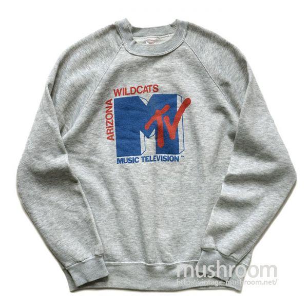 美品♪1980'S MTV スウェット ARIZONA WILDCATS COLLEGIATE PACIFICボディ 霜降りグレー USA製 MUSIC TELEVISION ビンテージ オリジナル