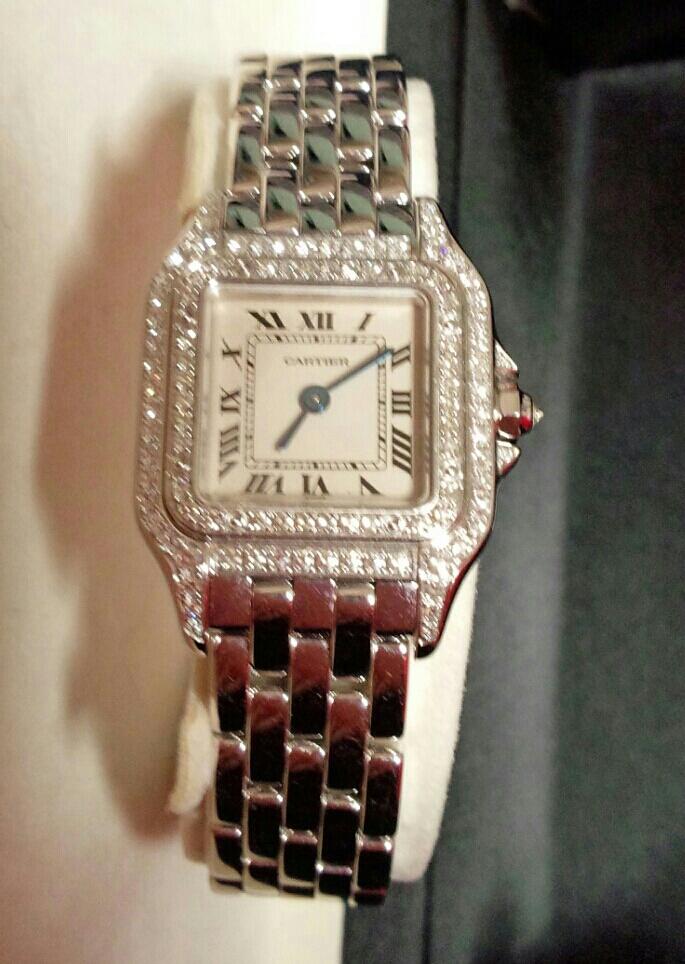 【本物】カルティエ Cartier K18WG パンテール 二重ダイヤモンド ベゼル レディース 腕時計 美品 質屋さんにて購入 送料無料_画像9