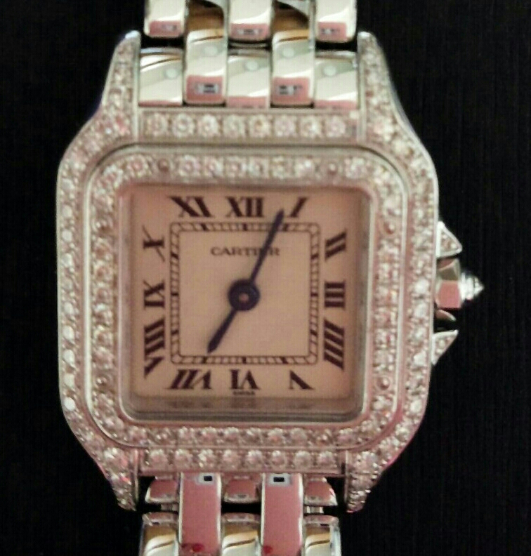 【本物】カルティエ Cartier K18WG パンテール 二重ダイヤモンド ベゼル レディース 腕時計 美品 質屋さんにて購入 送料無料