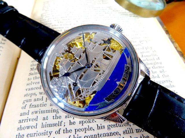 彫金をご覧あれ! ROLEXの美しいデザイン ロレックス アンティーク時計 機械式 懐中時計の機械を使った非常に珍しい作品 手巻き スケルトン