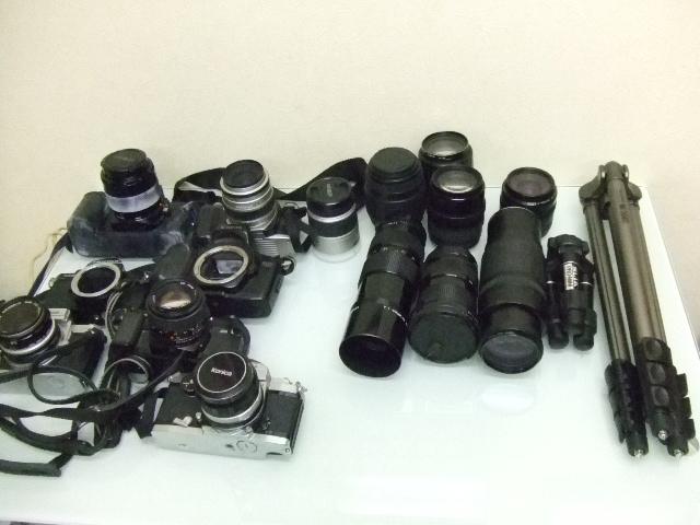 ジャンク★ペンタックス他・・・フィルムカメラ8台+レンズ7個+三脚★ジャンク