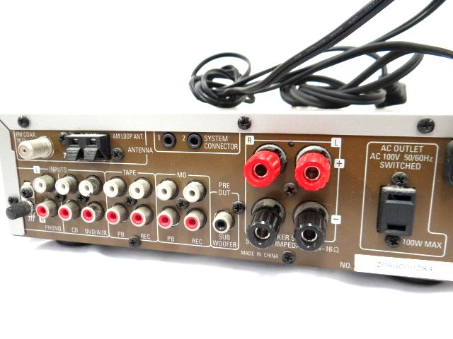 DENON DRA-F101 デノン レシーバーアンプ オーディオ機器 通電確認済み 難有 ジャンク扱い 赤白コード1組セット kh05-DA12_画像6