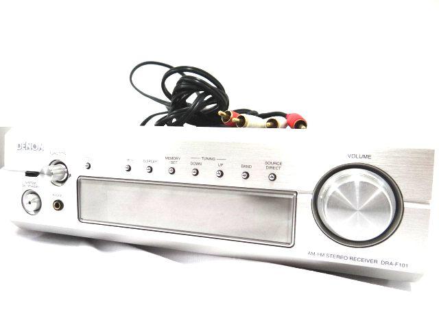 DENON DRA-F101 デノン レシーバーアンプ オーディオ機器 通電確認済み 難有 ジャンク扱い 赤白コード1組セット kh05-DA12