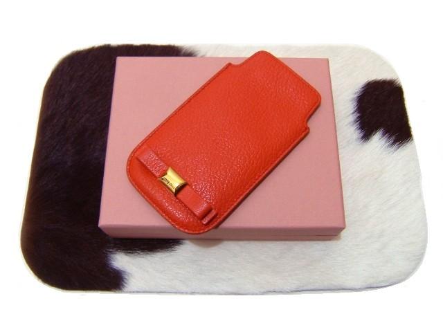 MIUMIU マルチケースリボン レッドオレンジ 朱赤 S14 新品 カードケース アイコス iphone_画像1