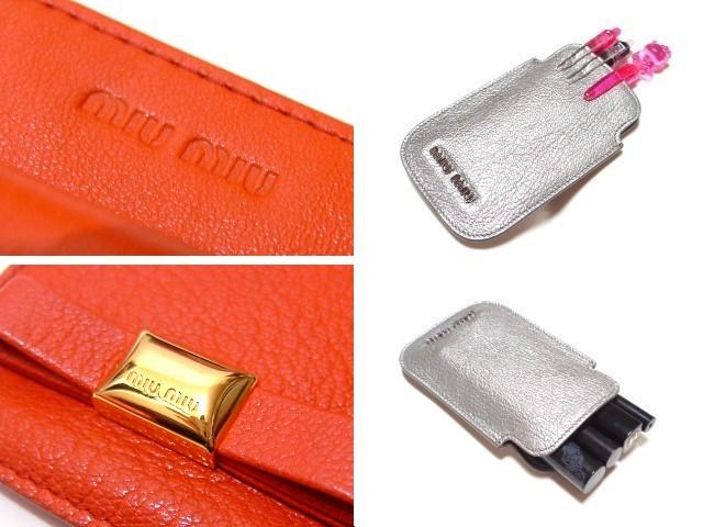 MIUMIU マルチケースリボン レッドオレンジ 朱赤 S14 新品 カードケース アイコス iphone_画像3