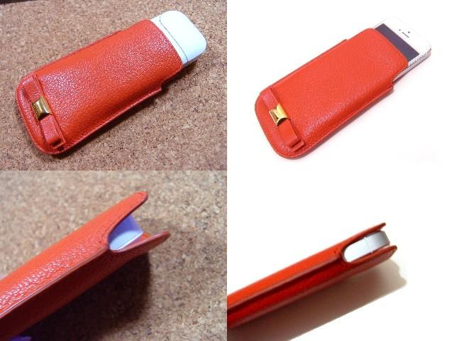 MIUMIU マルチケースリボン レッドオレンジ 朱赤 S14 新品 カードケース アイコス iphone_画像2