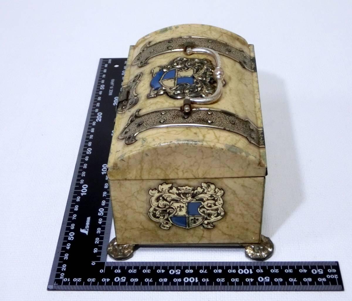 レトロ 宝箱風 金属製 小物入れ ミニ トランク / 空き缶 ブリキ Tin_画像3