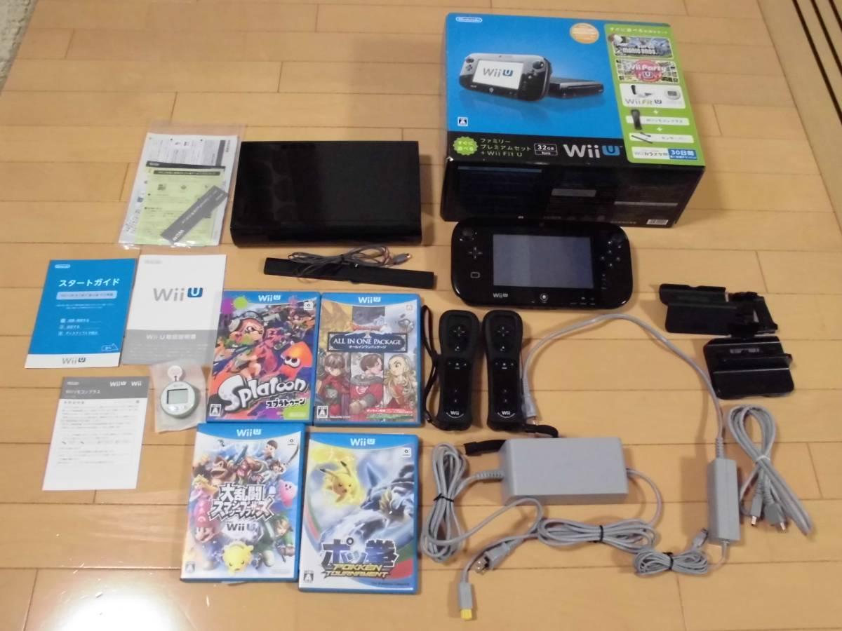 Wii Uファミリープレミアムセット 32G  黒WiiUソフトセット ★スプラトゥーン★