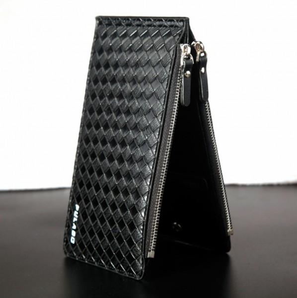 新品 レザー カードケース メンズ フリーポケット 長財布 ダブルファスナー 名刺入れ おしゃれ 黒 ブラック ビジネス かっこいい 収納 y099