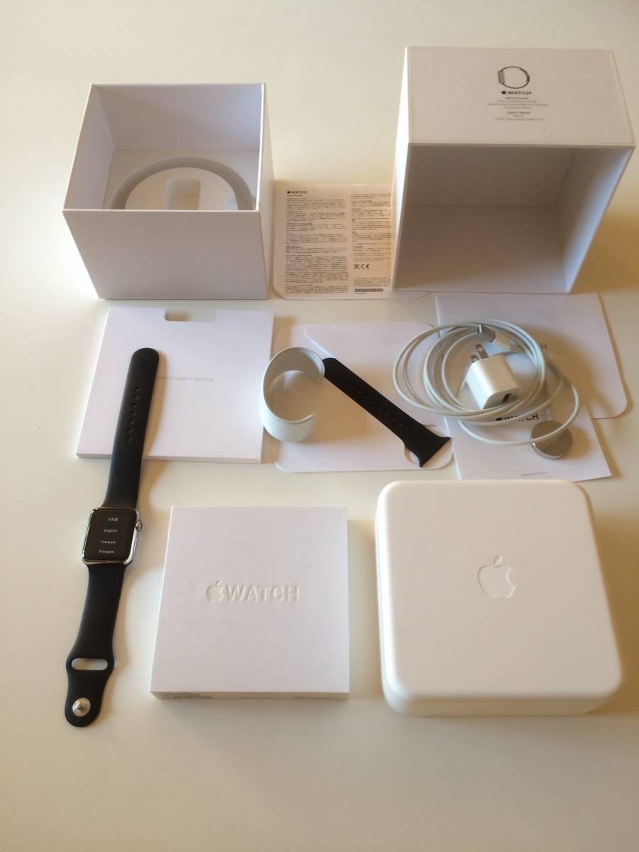 【極美品】Apple正規店購入 アップルウォッチ 新品同様全て付属 AppleWatch 38mm ステンレス 316L Stainless Steel 時計 ブラック
