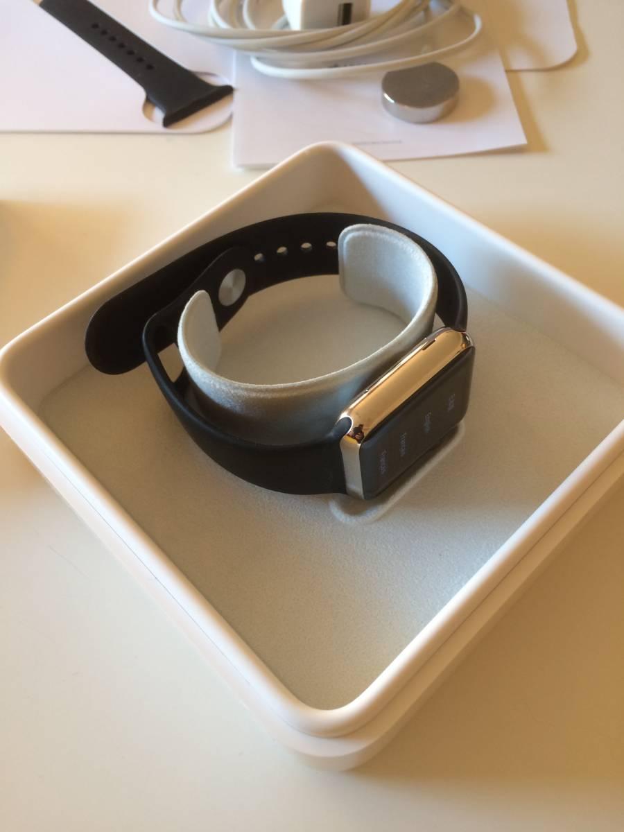【極美品】Apple正規店購入 アップルウォッチ 新品同様全て付属 AppleWatch 38mm ステンレス 316L Stainless Steel 時計 ブラック _画像2