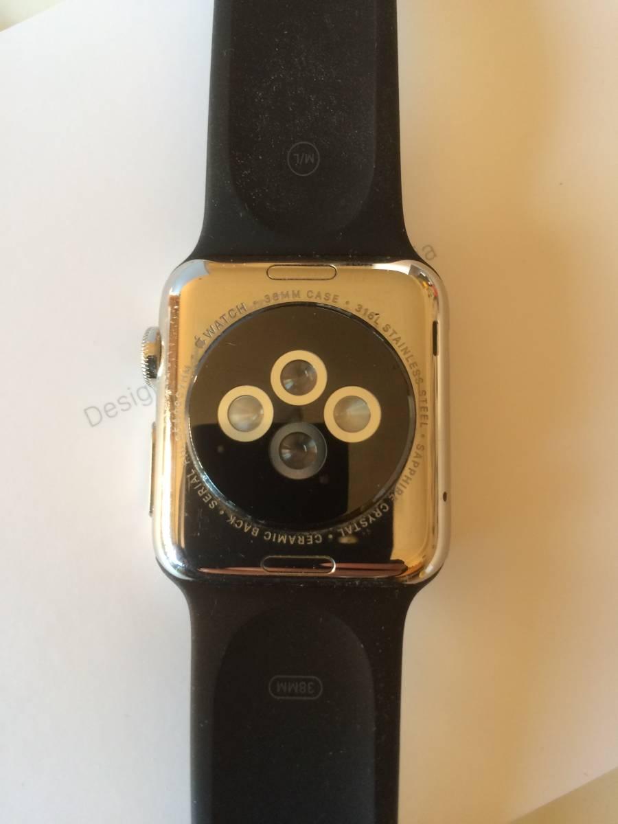 【極美品】Apple正規店購入 アップルウォッチ 新品同様全て付属 AppleWatch 38mm ステンレス 316L Stainless Steel 時計 ブラック _画像4