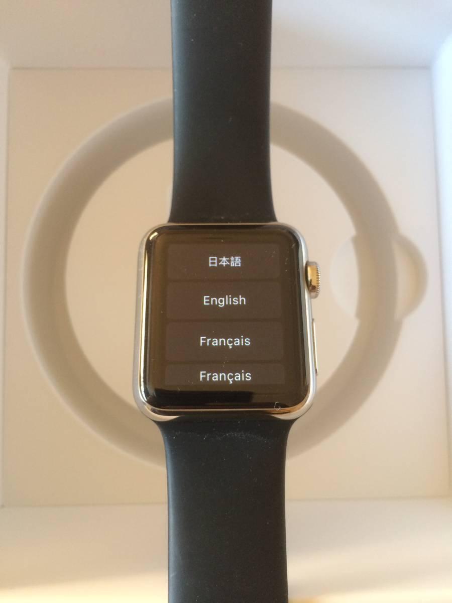 【極美品】Apple正規店購入 アップルウォッチ 新品同様全て付属 AppleWatch 38mm ステンレス 316L Stainless Steel 時計 ブラック _画像3