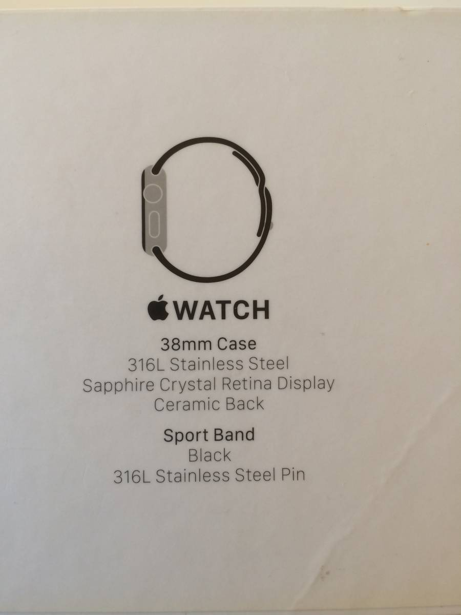 【極美品】Apple正規店購入 アップルウォッチ 新品同様全て付属 AppleWatch 38mm ステンレス 316L Stainless Steel 時計 ブラック _画像7