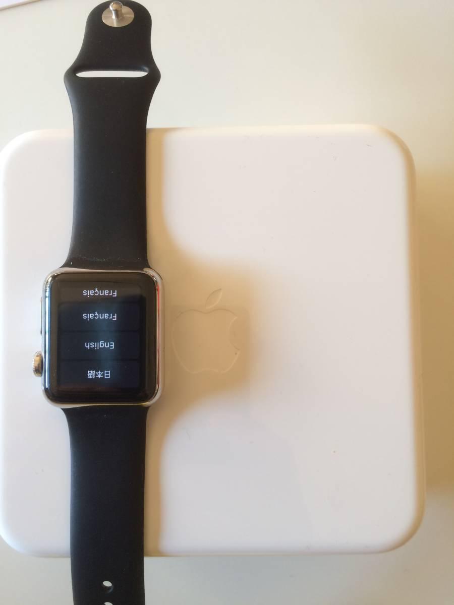 【極美品】Apple正規店購入 アップルウォッチ 新品同様全て付属 AppleWatch 38mm ステンレス 316L Stainless Steel 時計 ブラック _画像9