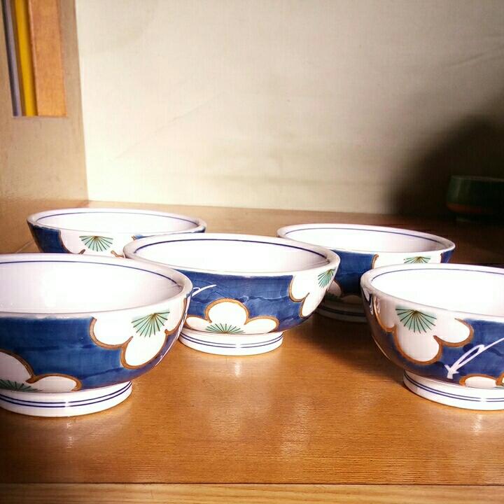 昭和レトロ■梅柄 金彩 小鉢 5個_画像1