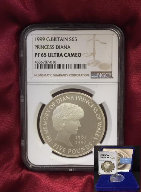 [希少]1999年 イギリス王室 ダイアナ妃 追悼記念コイン NGC 高評価 PF65 ULTRA CAMEO 5ポンド銀貨